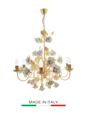 Đèn Chùm Napoleon Asolo Mạ vàng 24K 6 Bóng Hoa Màu Trắng - 2390-6
