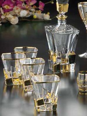 Bộ 6 ly và bình rượu Whisky pha lê Same Decorazione Italy - 73350