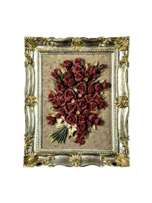 Khung tranh trang trí silver với hoa sứ đỏ Artre Ca.Sa. ART.5643