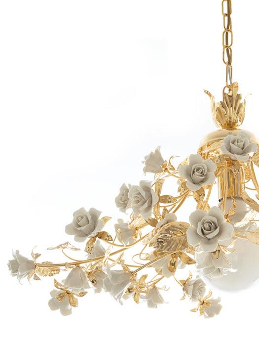 Đèn Chùm Hoa Hồng Napoleon Mạ vàng 24K Màu Xám - 2410-1