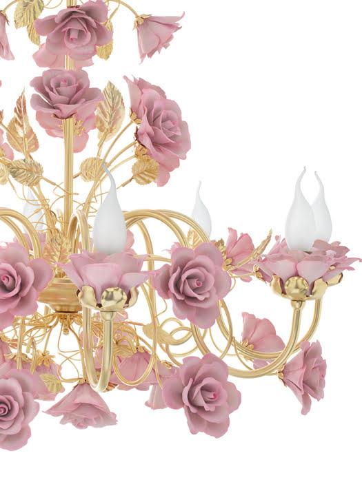 Đèn Chùm Hoa Hồng Napoleon Mạ vàng 24K 8 Bóng Màu Hồng - 2396/08