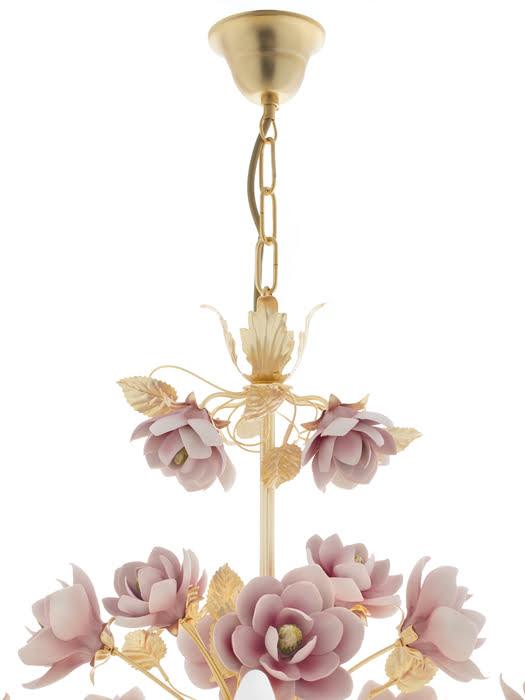 Đèn Chùm Hoa Mộc Lan Napoleon Mạ vàng 24K 6 Bóng Màu Hồng - 2393-6