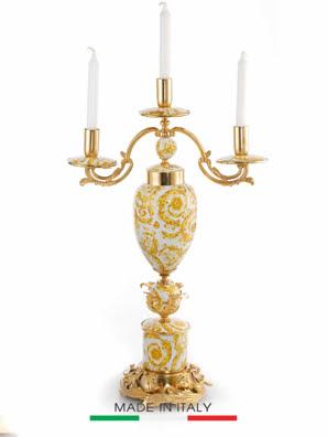 Chân Nến Trang Trí Bằng Sứ Mạ Vàng Caroline Italy 41x20x69cm - A248/B.1485