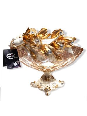Khay Cevik đựng trái cây pha lê mạ vàng 24Kgắn hoa tulip và kim cương Swarovski - 3NT.CHA/148/C