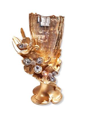 Bình hoa pha lê mạ vàng 24k gắn hoa lan và kim cương Swarovski Cevik - 3NT.VSA/253/O