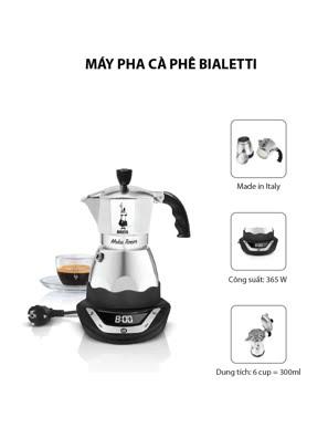 Máy pha cà phê Bialetti chạy điện hẹn giờ Moka Timer 6 cup 6TZ 2015 - 0006093