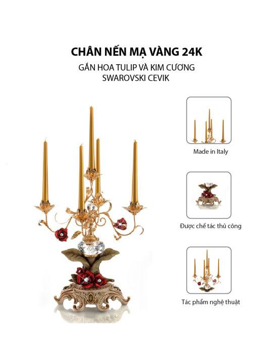 Chân nến Cevik mạ vàng 24K gắn hoa tulip và kim cương Swarovski