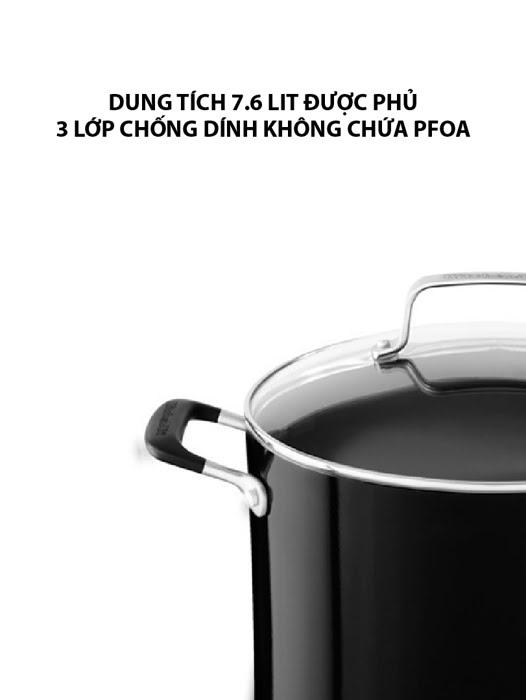 Nồi chống dính 7.6 L KitchenAid có nắp đậy màu đen - KC2A80SCOB