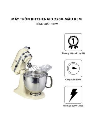 Máy trộn đứng đầu nghiêng KitchenAid Artisan® 220V màu kem