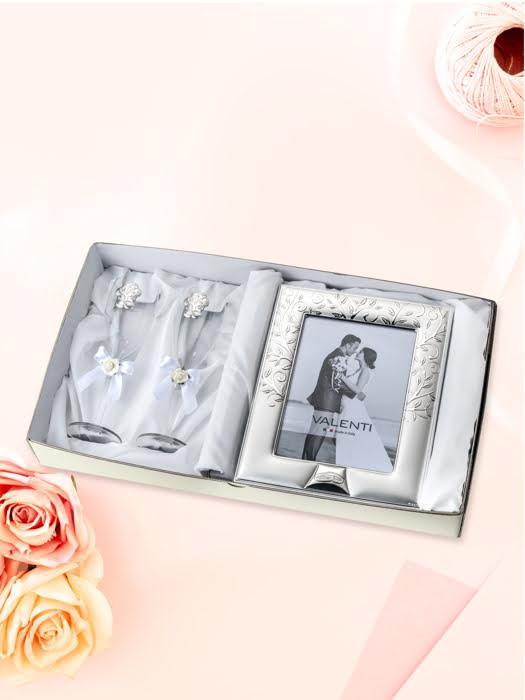 Đồ trang trí  quà tặng cuộc sống (2 ly thủy tinh + khung ảnh 13x18) mạ bạc hiệu VALENTI  - 16523