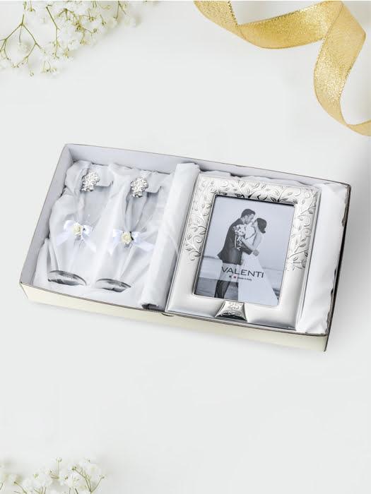 Đồ trang trí  quà tặng cuộc sống kỉ niệm 25 năm đám cưới bạc (2 ly thủy tinh + khung ảnh 13x18) mạ bạc hiệu VALENTI  - 16524