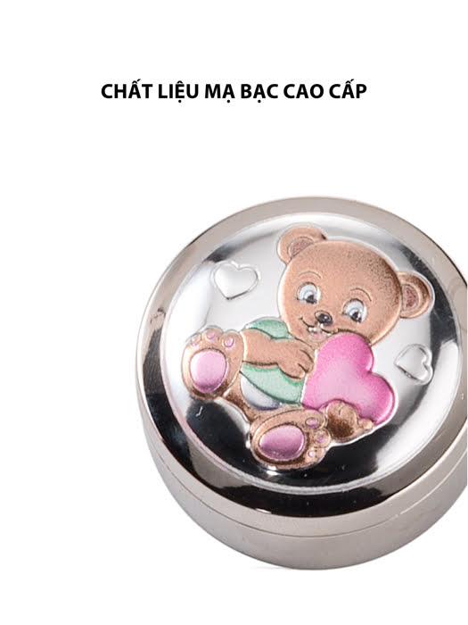 Hộp đựng răng sữa em bé gấu Teddy,kích thước 4 mm,màu xanh mạ bạc hiệu VALENTI  - 21156C
