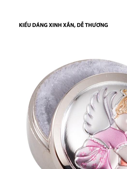 Hộp đựng răng sữa em bé Thiên thần,kích thước 4 mm,màu hồng mạ bạc hiệu VALENTI  - 21158RA