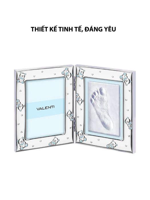 Khung ảnh và tranh bàn chân gấu Teddy,màu hồng-xanh,kích thước 9x13 mạ bạc hiệu VALENTI  - 731403LC