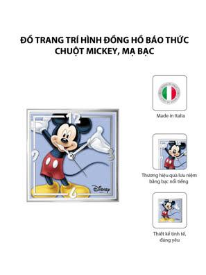 Đồ trang trí hình Đồng hồ báo thức Chuột Mickey mạ bạc hiệu VALENTI  - D395C