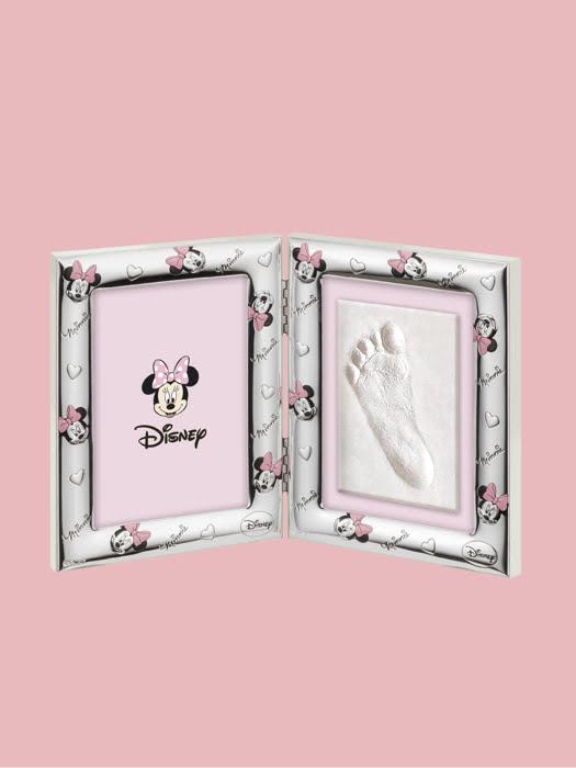 Đồ trang trí hình khung ảnh Chuột Minnie và tranh dấu chân bé mạ bạc hiệu VALENTI  - D4213LRA
