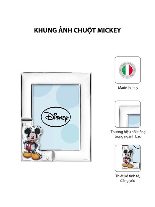 Khung ảnh chuột Mickey,kích thước 13x18 mạ bạc hiệu VALENTI  - D4504LC