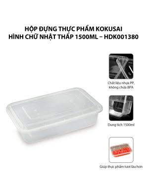 Hộp đựng thực phẩm Kokusai Hình chữ nhật thấp 1500ml – HDK001380