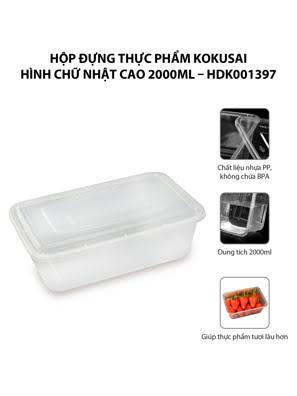 Hộp đựng thực phẩm Kokusai Hình chữ nhật cao 2000ml – HDK001397