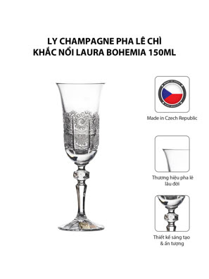 Bộ 6 ly champagne pha lê chì khắc nổi Laura Bohemia 150ml