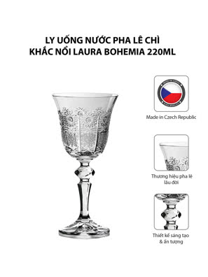 Bộ 6 ly uống nước pha lê chì khắc nổi Laura Bohemia 220ml