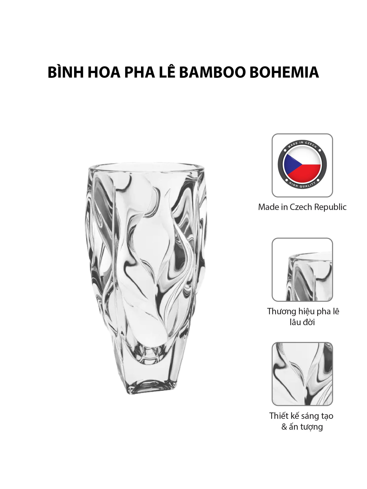 Bình hoa pha lê Bamboo Bohemia