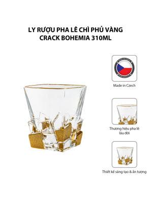 Bộ 6 ly rượu pha lê chì phủ vàng Crack Bohemia 310ml