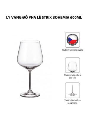 Bộ 6 ly vang đỏ pha lê Strix Bohemia 600ml