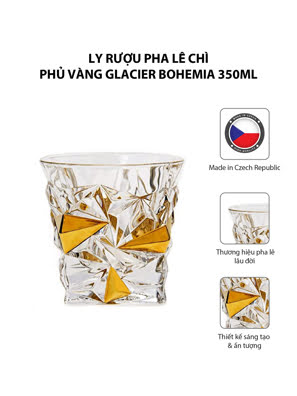 Ly rượu pha lê chì phủ vàng Glacier Bohemia 350ml