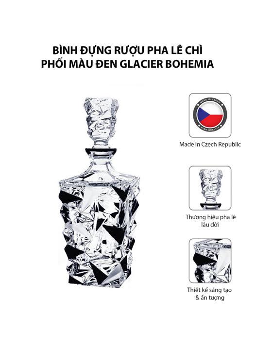 Bình đựng rượu pha lê chì phối màu đen Glacier Bohemia