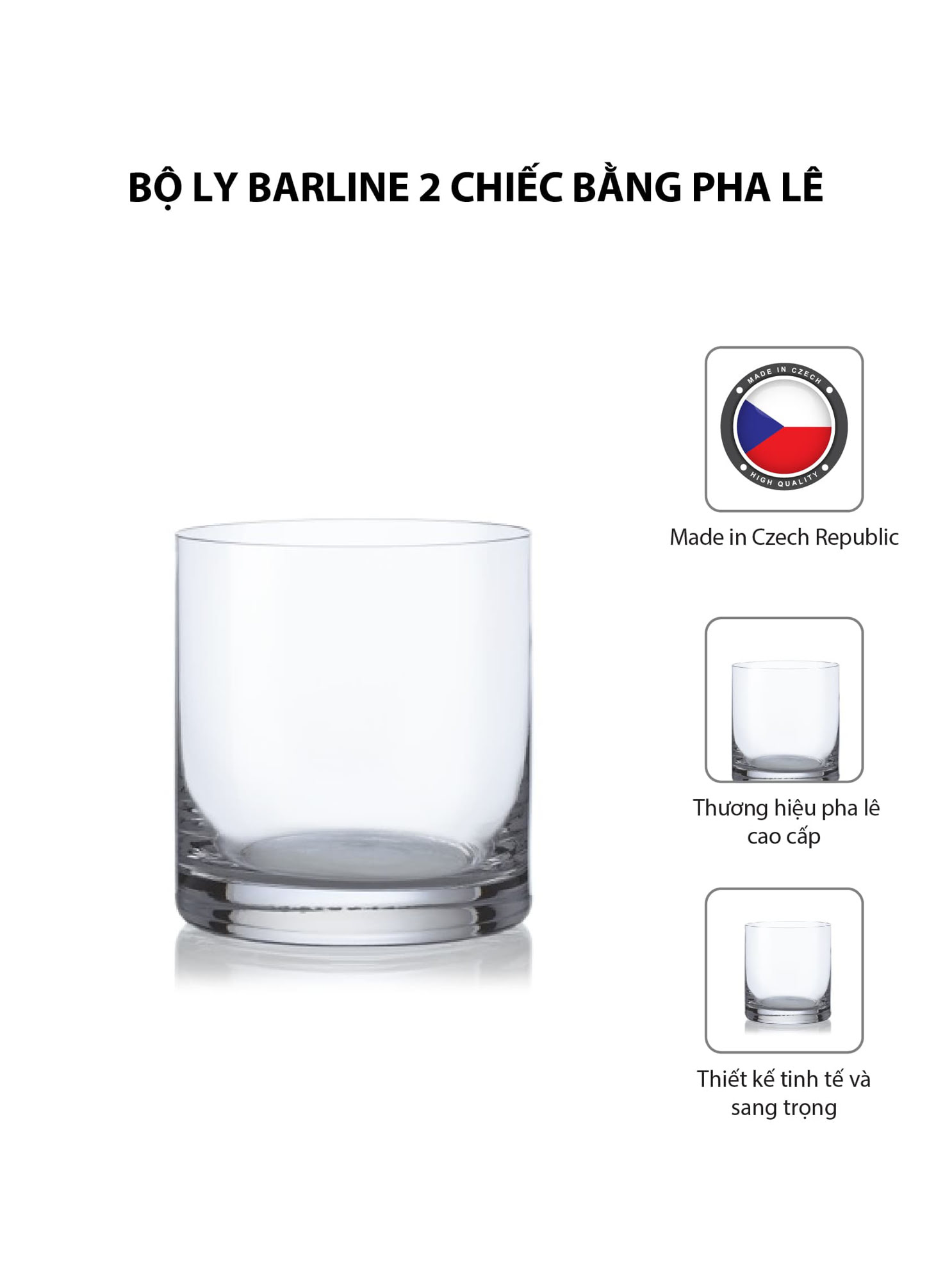 Bộ 2 ly rượu Barline pha lê Bohemia 410ml