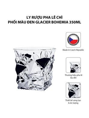 Bộ 6 ly rượu pha lê chì phối màu đen Glacier Bohemia 350ml