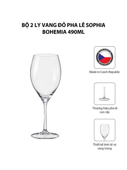 Bộ 2 ly vang đỏ pha lê Sophia Bohemia 490ml