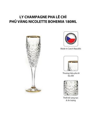 Bộ 6 ly champagne pha lê chì phủ vàng Nicolette Bohemia 180ml