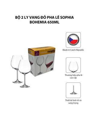 Bộ 2 ly vang đỏ pha lê Sophia Bohemia 650ml