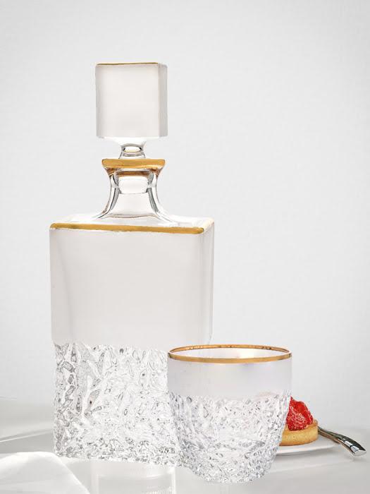 Bình đựng rượu pha lê chì khảm vàng Nicolette Bohemia