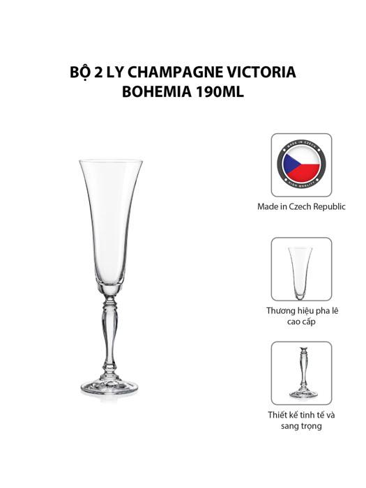 Bộ 2 ly champagne Victoria Bohemia 180ml