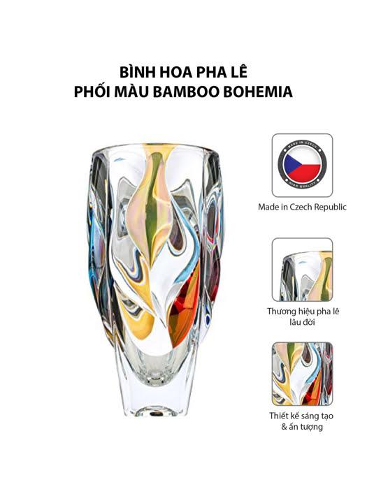 Bình hoa pha lê phối màu Bamboo Bohemia
