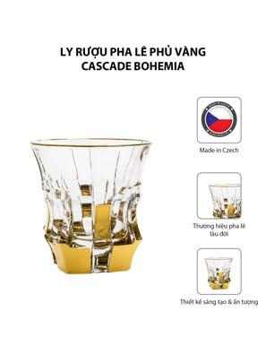 Bộ 6 ly rượu pha lê phủ vàng Cascade Bohemia