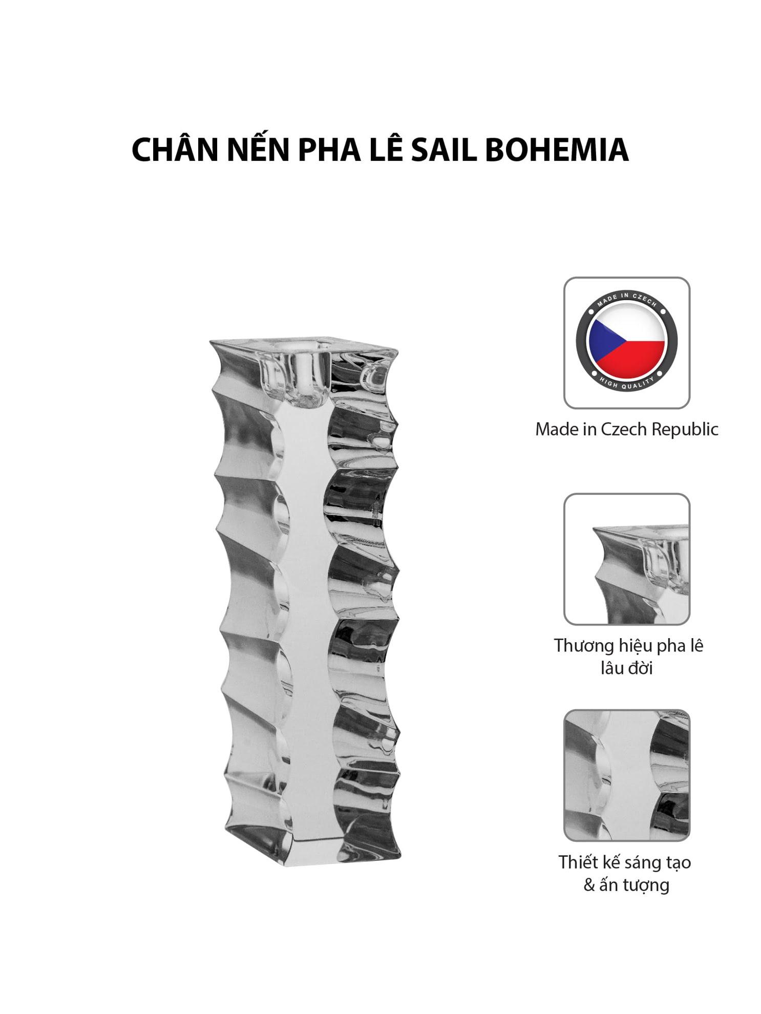 Chân nến pha lê Sail Bohemia