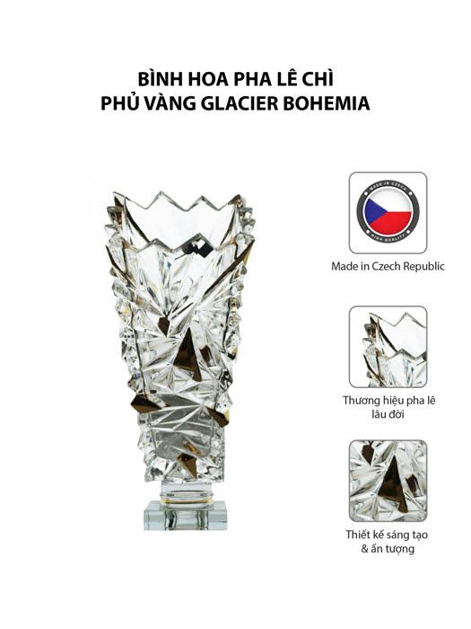 Bình hoa pha lê chì phủ vàng Glacier Bohemia