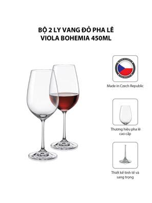 Bộ 2 ly vang đỏ pha lê Viola Bohemia 450ml