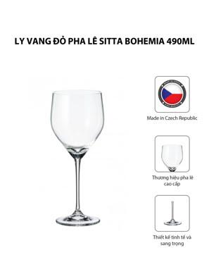 Bộ 6 ly vang đỏ pha lê Sitta Bohemia 490ml