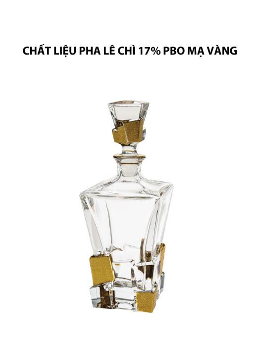 Bình đựng rượu pha lê chì phủ vàng Crack Bohemia
