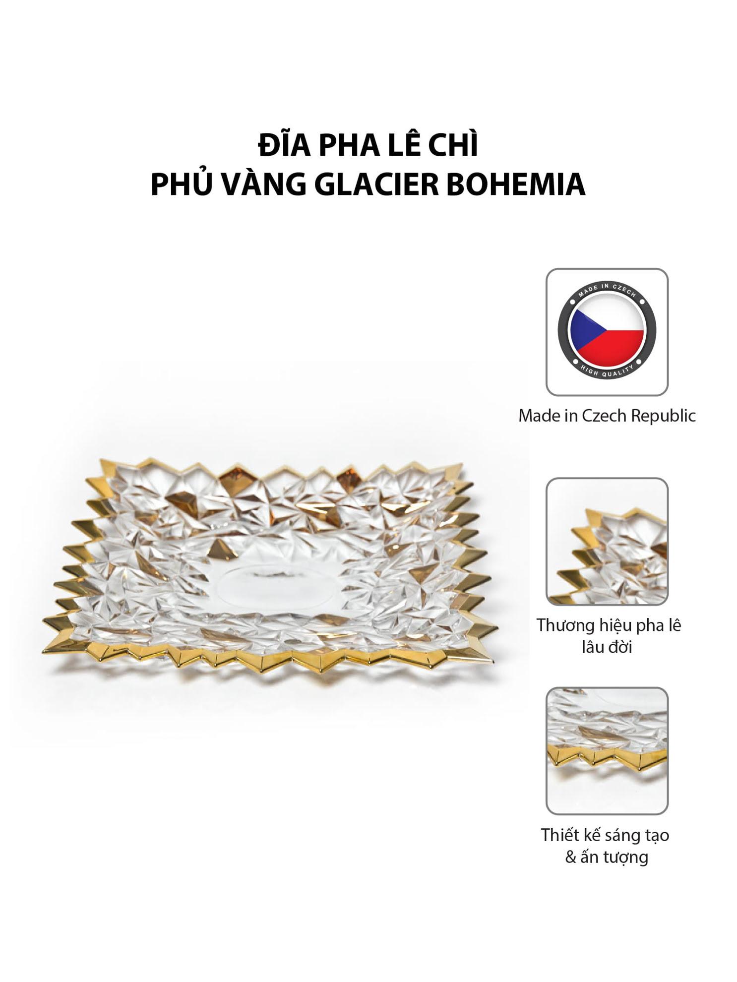 Đĩa pha lê chì phủ vàng Glacier Bohemia