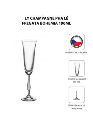 Ly champagne pha lê Fregata Bohemia 190ml