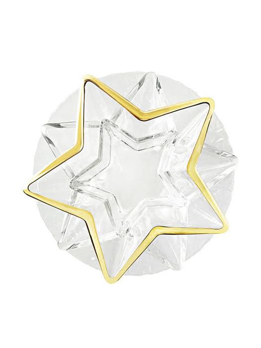 Khay thủy tinh trang trí Vidivi Stella mạ vàng 35cm - 63531EM