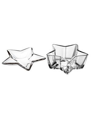 Bộ 2 khay thủy tinh Stella hình ngôi sao 35cm và 18cm - 65977M