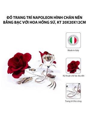Đồ trang trí Napoleon hình chân nến bằng bạc với hoa hồng sứ,kt 20x20x12cm,code 5380/09