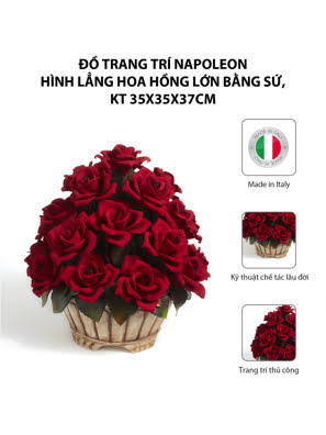 Đồ trang trí Napoleon hình lẳng hoa hồng lớn bằng sứ,kt 35x35x37cm,code 1605/17